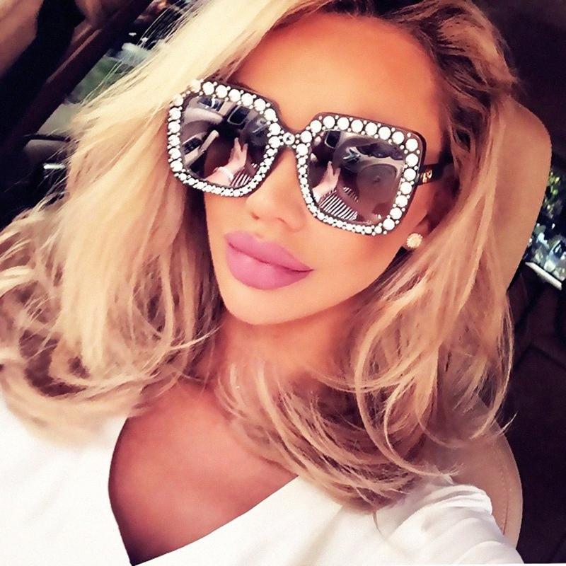 2018 Kadınlar Moda Kare Güneş Elmas taklidi Büyük Boy Güneş Gözlükleri Şık Büyük Ayna Sunglass Retro En Rhinestone JnpB #