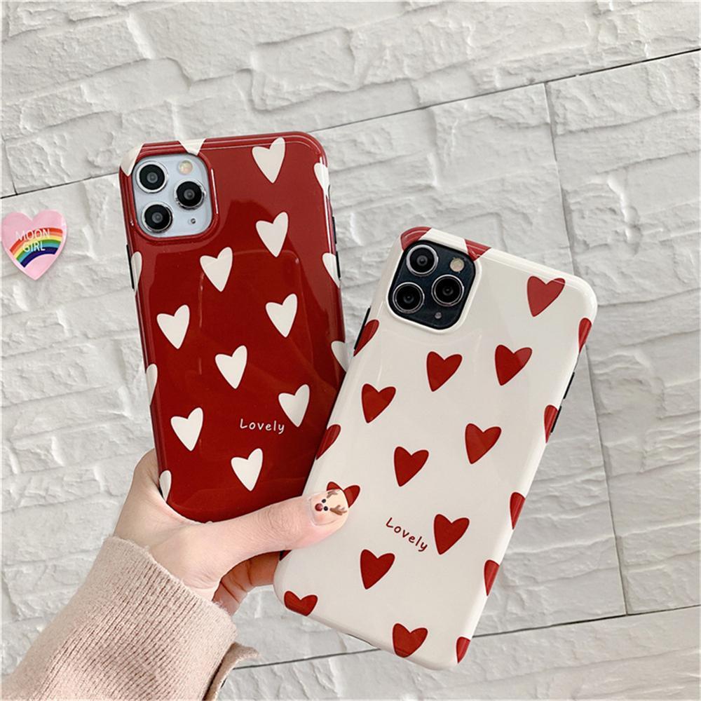 Aşk Kalp iPhone 11 Pro Max Max XR Yumuşak IMD Kılıf iPhone 7 8 Artı Arka Kapak Shell için Sevimli Parlak Kılıf