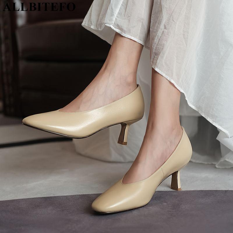 ALLBITEFO rodada toe de couro genuíno casamento sapatos de salto alto mulheres partido moda sexy mulheres saltos sapatos de salto alto