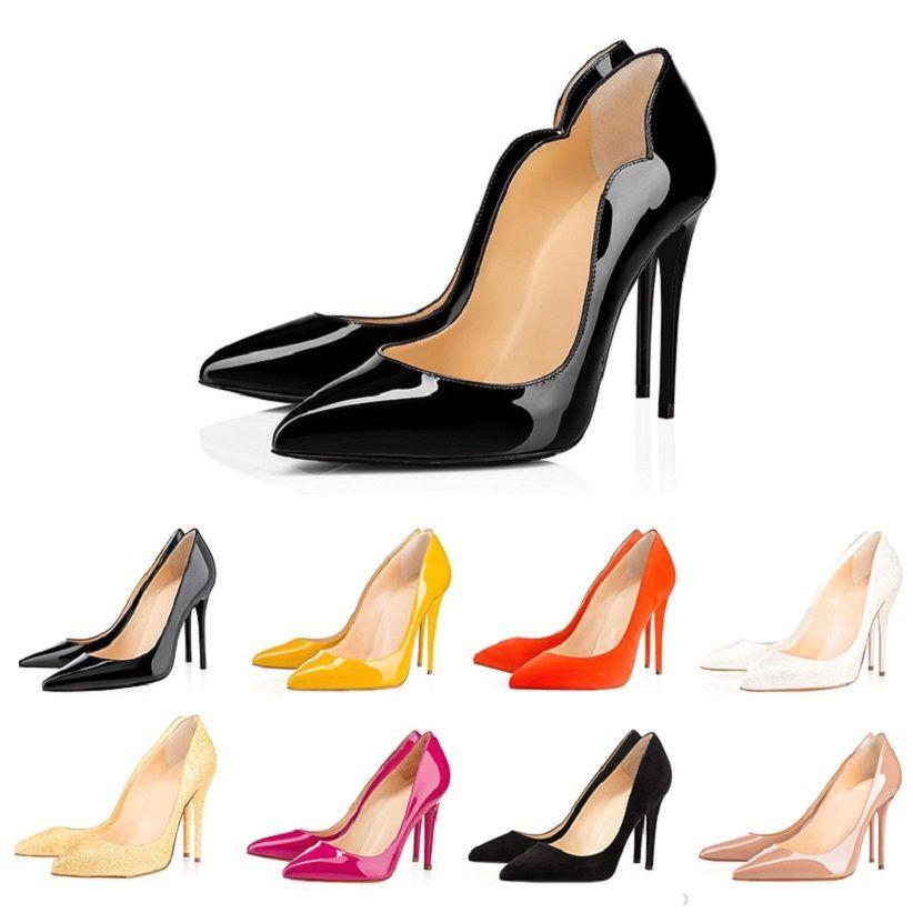 Все красные нижние моды высокие каблуки для партии женщин свадьбы тройной черный обнаженных желтый розовый блеск шипы носками Насосы женские платья обувь