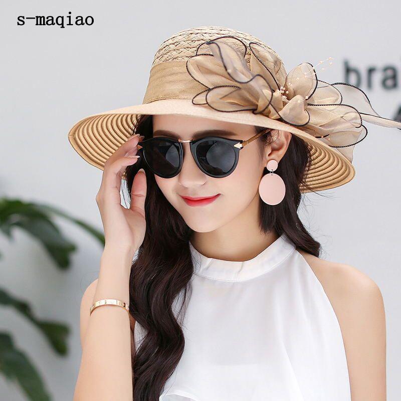 Изящные Caps Весна Лето Hat для дам Цветок Bucket Hat Женщины широкими полями Anti-UV Соломенные шляпы солнца Женские фетровых Шляпы