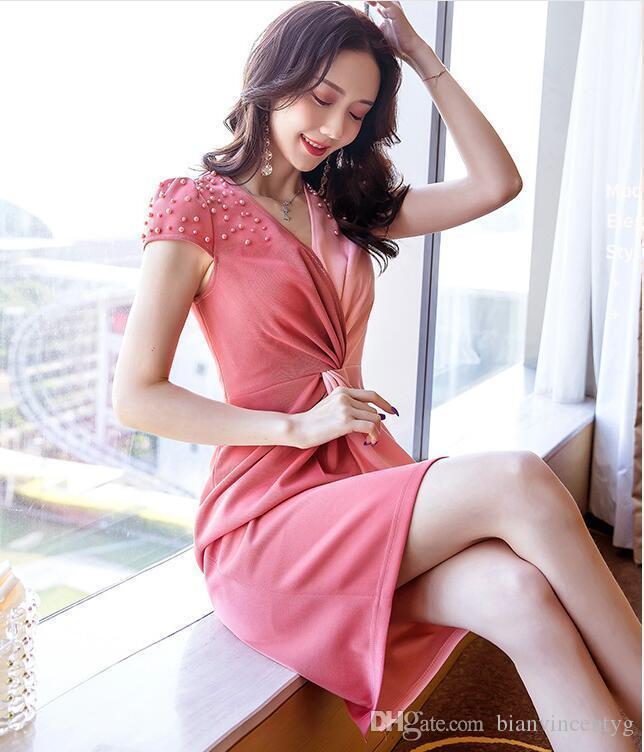 2020 Nuovo vestito stilista sexy delle donne O-collo Vestiti manica corta tunica della spiaggia di estate Sun casuale Femme Abiti signora Clothing Dress