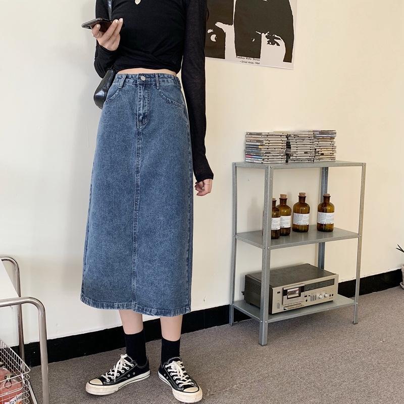 C51qg zXUsq 2020 alta vita delle donne breve una gonna denimwear studente linea pannello esterno spaccato denim di lunghezza media