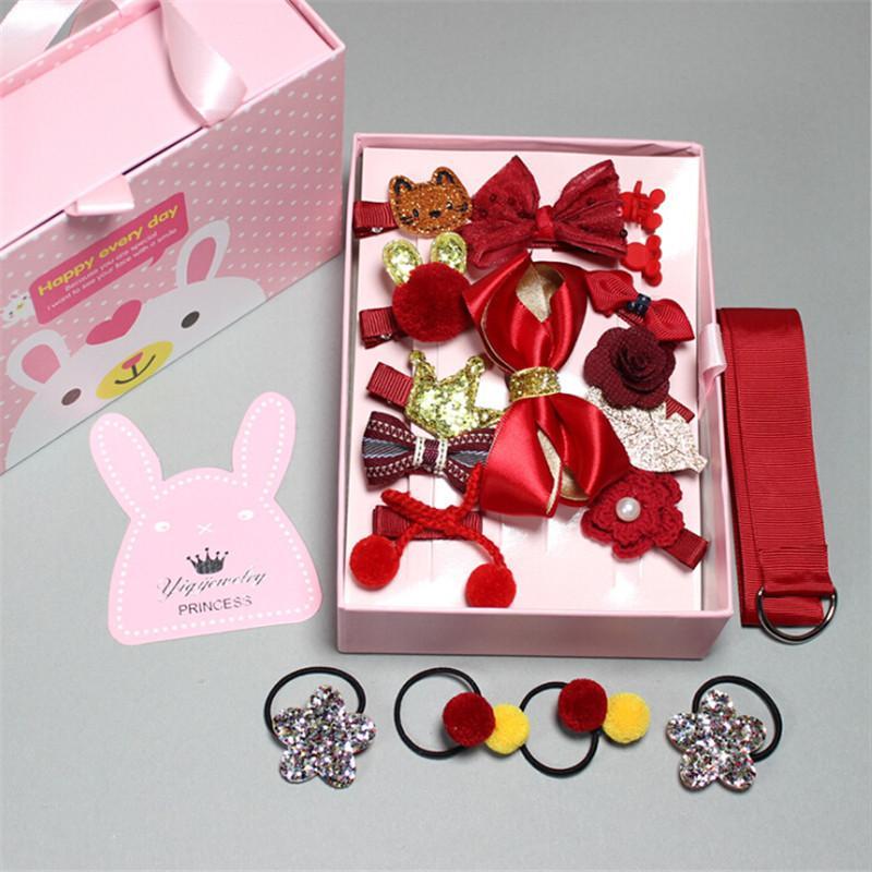 Bunte neue 18Pcs / Box Bär Blumen-Krone Haarnadeln Haarspangen Stoff Bogen Kopfbedeckung Haarspangen Mädchen Kopfschmuck Kinder Accessoires
