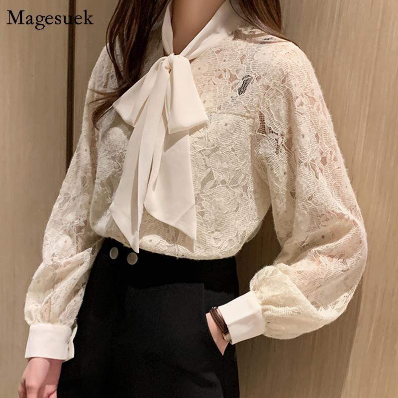 Moda Otoño 2020 camisas de las mujeres Oficina arco blusa de las mujeres de la manga de la linterna ahueca hacia fuera el cordón de la señora Blusas Blusas Casual 10566