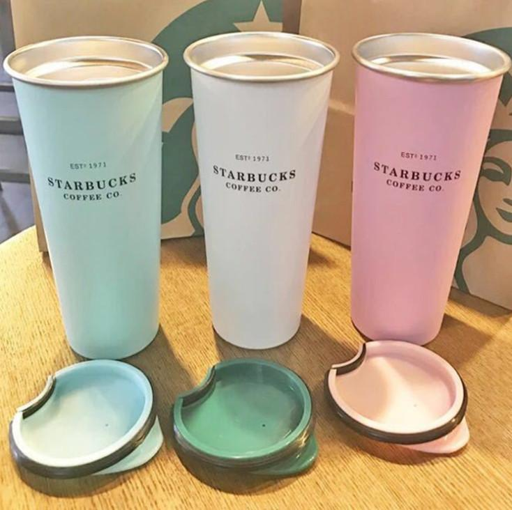 The latest 16OZ Starbucks stainless steel coffee cup with lid, Starbucks various styles of vacuum flask, free shipping