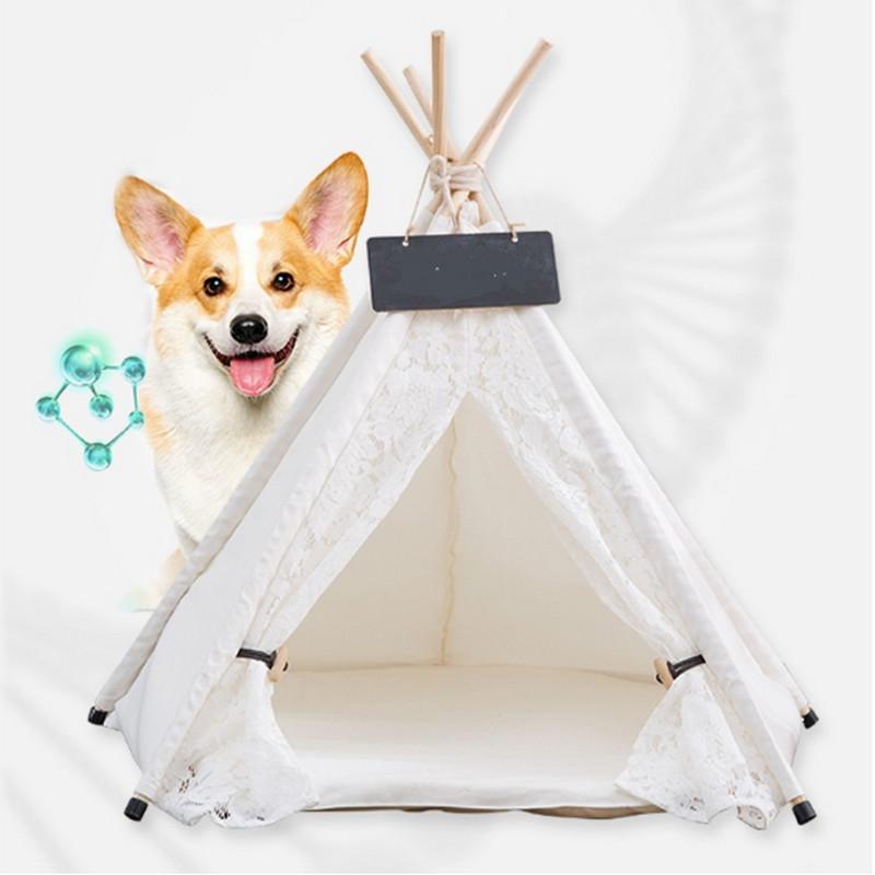 KAWAII الدانتيل الأبيض الحيوانات الأليفة خيمة بيت الكلب كلب سرير الحيوانات الأليفة في البيت خيمة الخشب بيت الكلب جرو القط السرير مع حصيرة اللوازم وسادات 2020