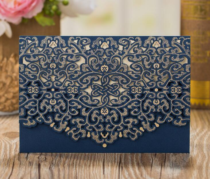 Envelopes Kit Laser Wedding Pcs/lot Blue With Invitation Card Invitations Navy Cutting Party Cards 50 Birthday pp2006 EWIMm