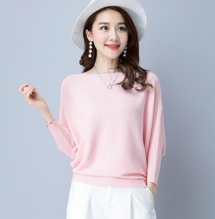 Мода осени рукав летучая мышь женские свитеров новые горячие вскользь Losse свитера для женщин падения о шеях женщин свитеров