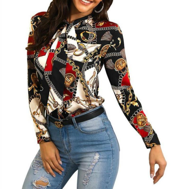여성 블라우스 패션 스트리트웨어 패널 대비 색상 체인 패턴 인쇄 womens 셔츠 가을 긴 소매 옷깃 넥 넥타이 탑 섹시한 셔츠