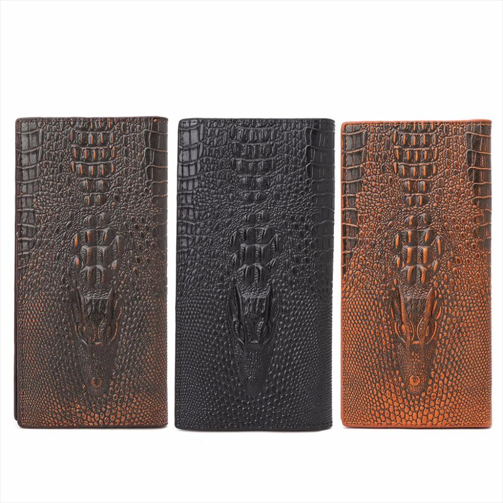 THINKTHENDO New Mens 3D Alligator Wallet Bifold ID Card Holder Purse Case Long Clutch Men Wallet Brand 3 Color