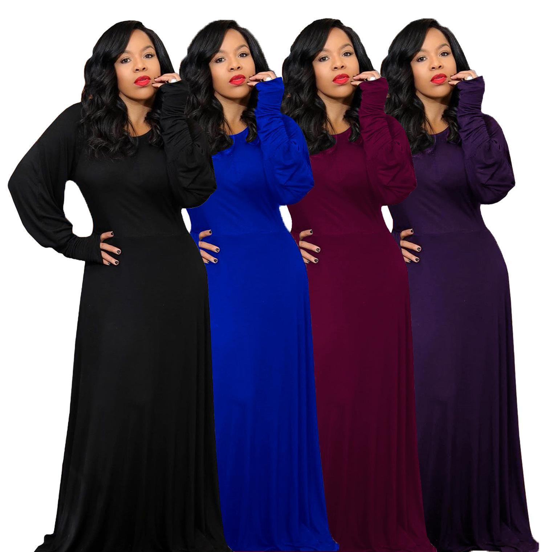 Otoño Invierno Negro maxi largo del vestido de la linterna de la manga de las mujeres elegantes vestidos de partido del club de la vendimia