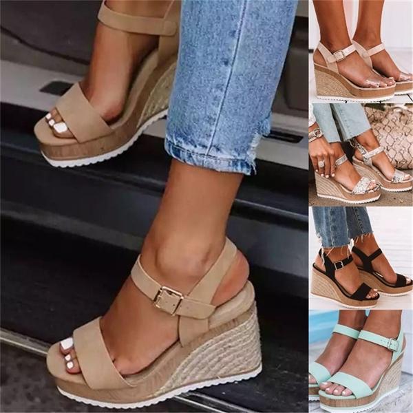 Mulheres sapatos de plataforma Sandálias Mulheres Peep Toe alta cunhas sapatos de salto tornozelo Buckles Sandalia Hemp Feminino 0922