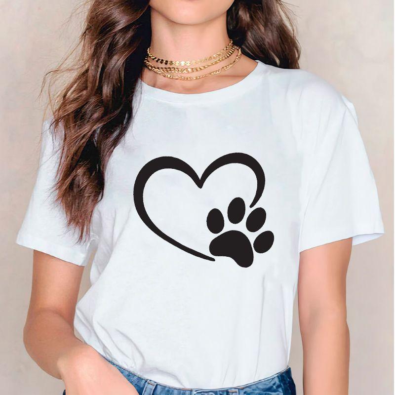Kadınlar 2020 Köpek Aşk Şekli Paw Pet Kısa Kollu Baskı T Shirt Giyim tişörtleri Bayan Bayanlar Grafik Kadın Tee Tişört Giyim