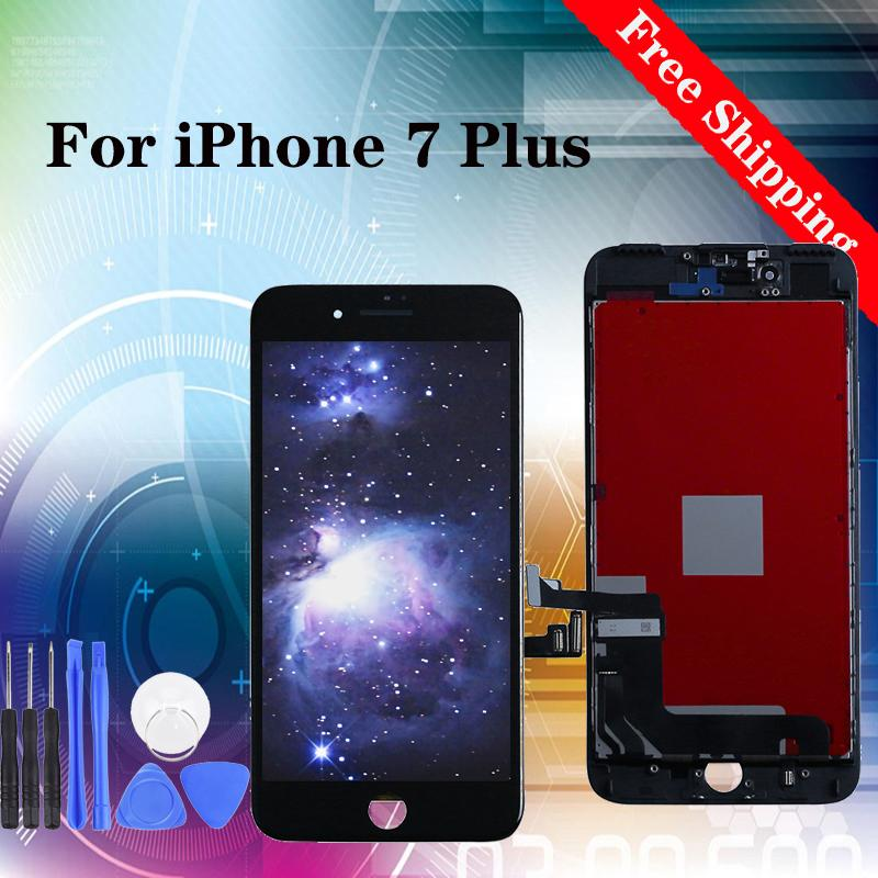 Super quality for iPhone 7 Plus LCD Screen Display Replacement With Touch Digitizer black white 100% tested with tempered film gifts