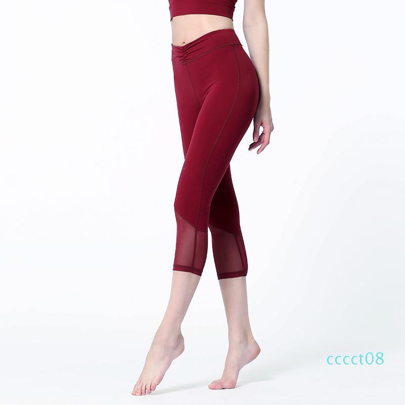 CT08 Donne Sport Leggings elastico vita alta in mesh Yoga Pants 3/4 Capri da running Crop allenamento di ginnastica Leggings fitness Fold Collant femmine