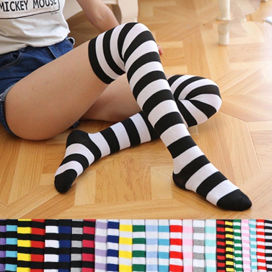 mujeres medias de rayas impresas calcetines hasta la rodilla calcetines altos del muslo Medias Moda deporte de las muchachas de largo calcetines Party Dress Up polainas LJJA3480- atfm #