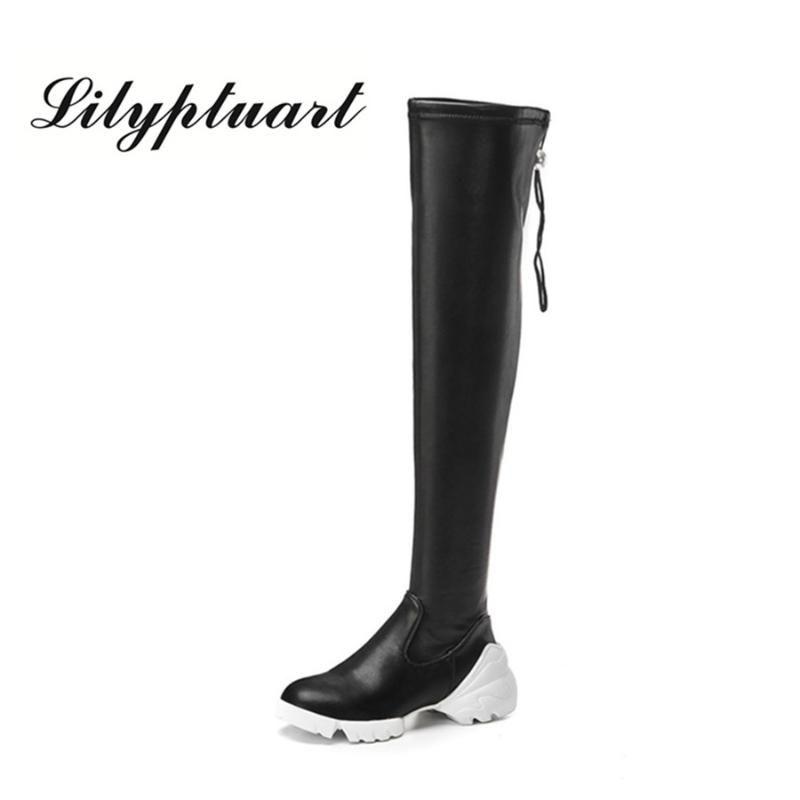 2020 Herbst neue Seitenreißverschluss Muffin Boden Lederstiefel Samtstoff Gummisohlen dünne Beine strecken Schuhe Stiefel Frauen