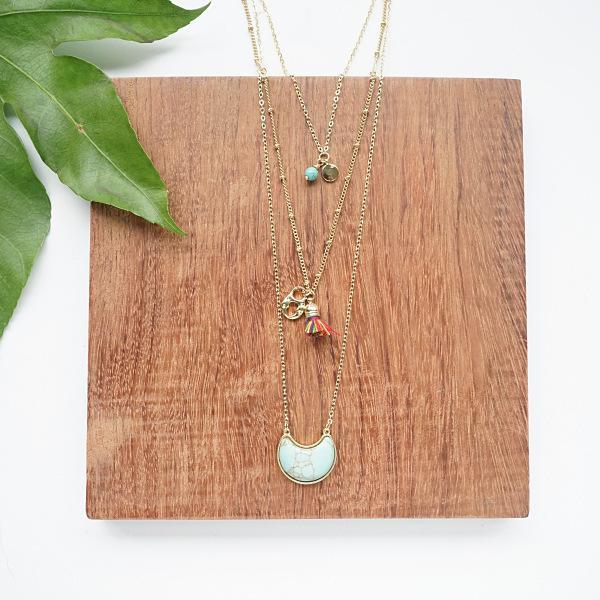 Designer Free Design P * Ople Bohême Lune ethnique Turquoise multi-couches à long collier pour femmes