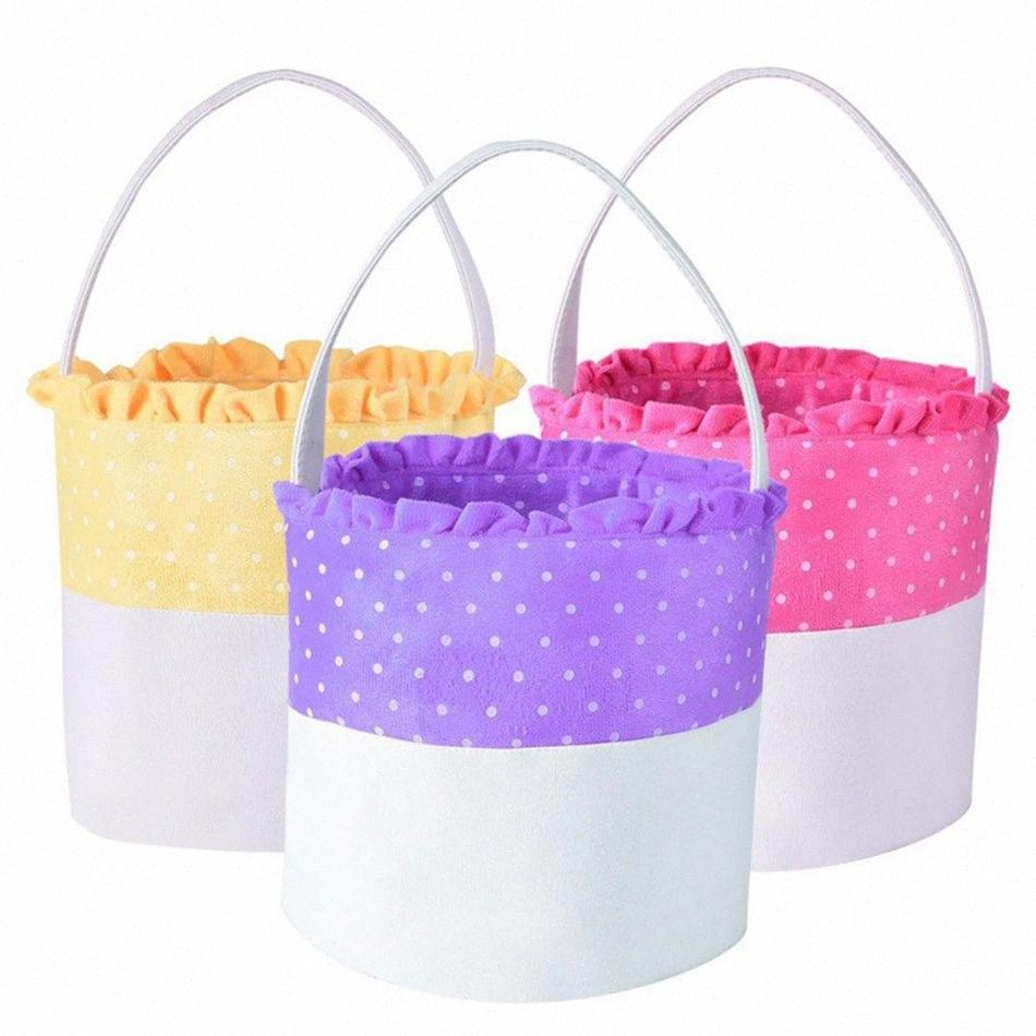 Polka Dot Dentelle de Pâques Panier de rangement sac à main panier mignon sac cadeau Mettre Portable Easter Eggs Godet fond rond LJJA3749 13 Childs main GyOF #