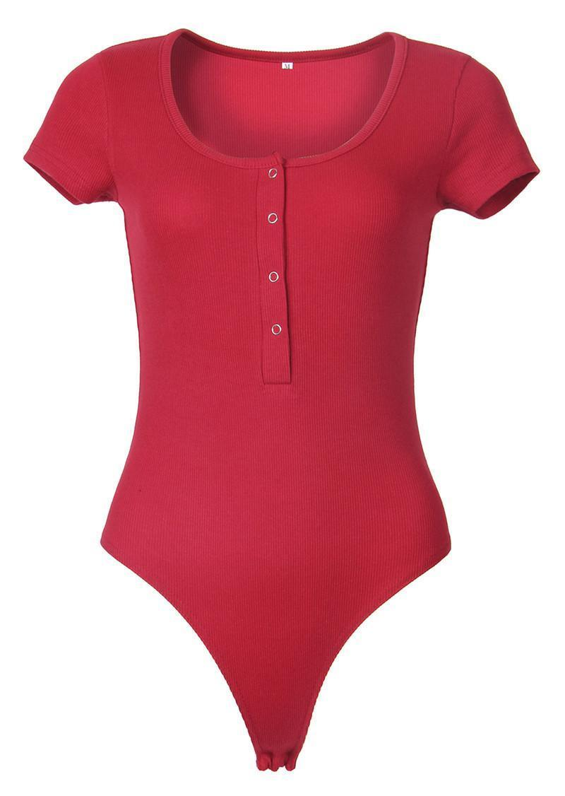 Botón de las mujeres de manga corta Body básica baja de punto Body acanalado elástico de punto flaco bodycon Negro Blanco Body superior