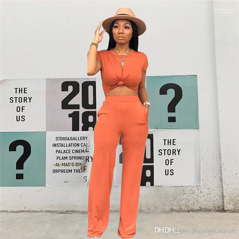 Donne Abbigliamento Primavera Pure Color Designer femminile tute sportive girocollo signore 2PC insieme casuale con pannelli allentati