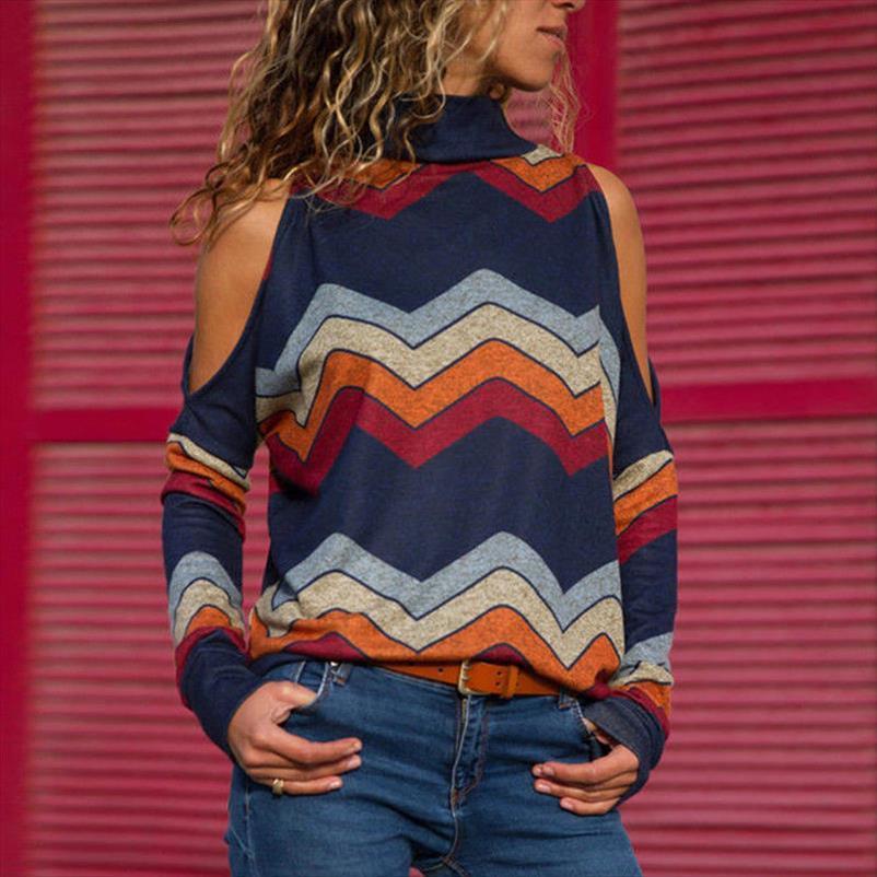 Womens longos da luva do New 2,020 Ladies Jumper pulôver Tops listrado desencapado do ombro Blusa Outono Inverno Mulher Elegante Tops Hot