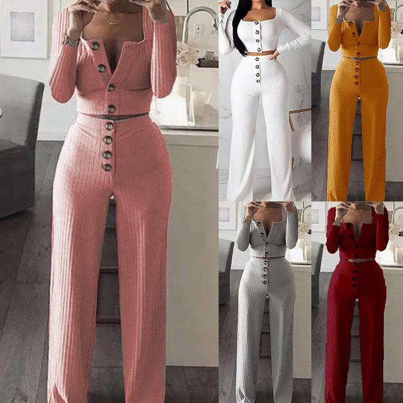 5 컬러 S-XXL 여성 V 넥 니트 운동복 복장 두 조각 세트 긴팔 티셔츠 자르기 탑 + 바지 60294935538502