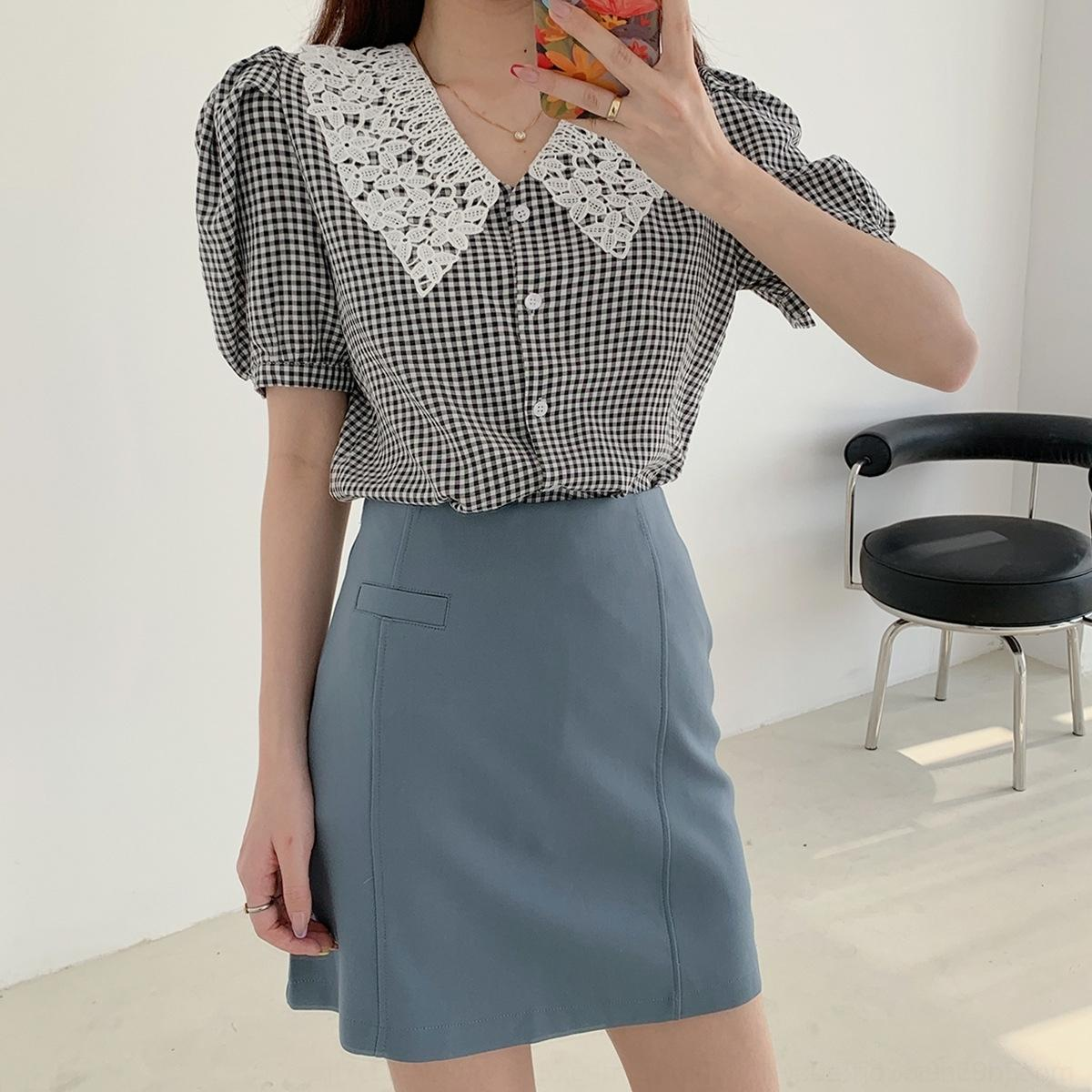 lAYvb Oufan 7214 French Plaid lace doll short for women sleeve Summer new 2020 Doll shirt collar bubble shirt