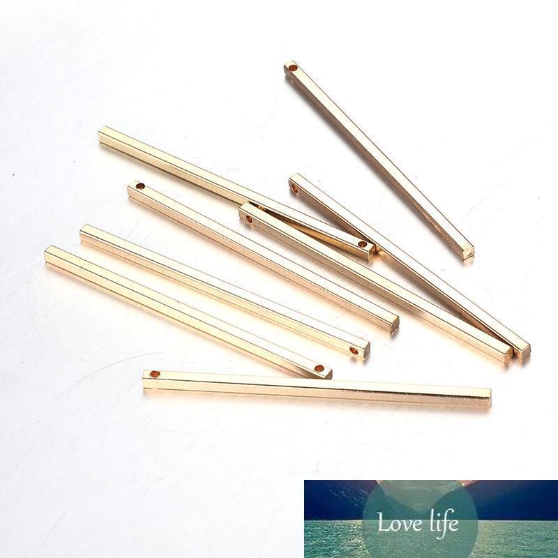50PCS 2x50mm New vara longa Bar Simples Estilo Gold Silver Cor de cobre em forma retangular encantos para Jóias DIY fazer acessórios Descobertas