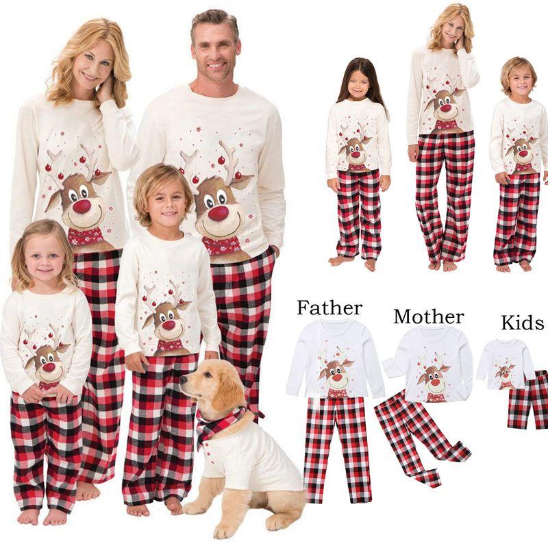 2021 рождественские пижамы набор олень печатают взрослых женщин дети соответствующие одежды Xmas семейные спящие одежды 2шт наборы Top + брюки CH11