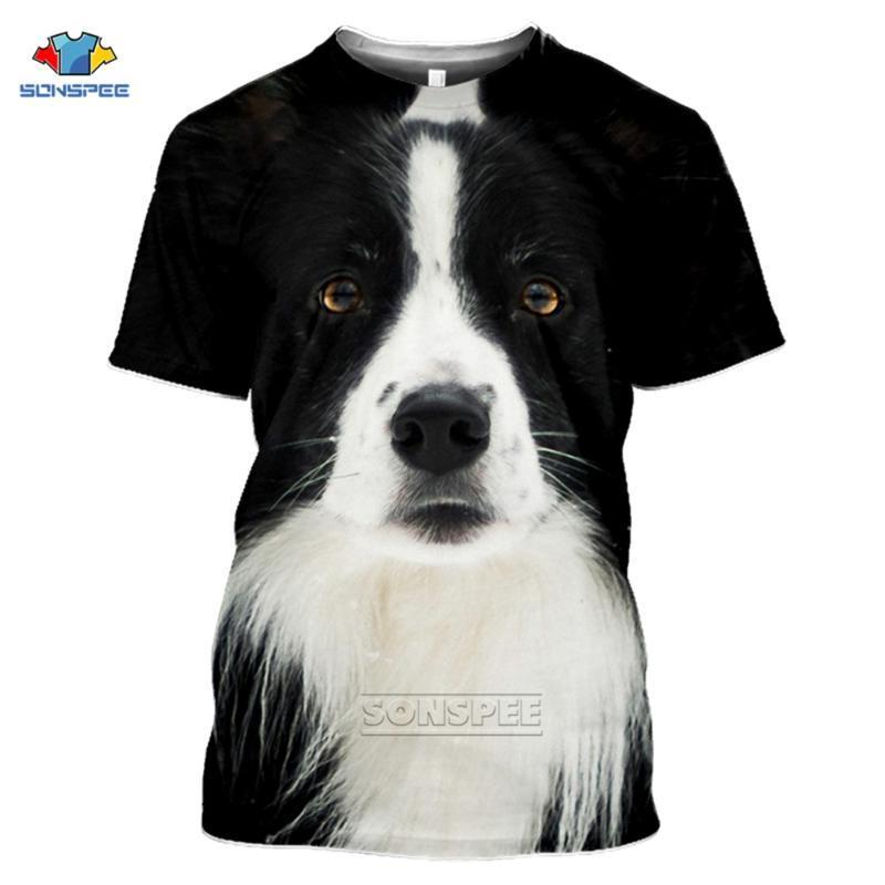 Anime 3D-Druck Lustiges T-Shirt Männer Frauen Mode-T-Shirt Border-Collie-Hund Top Kinder Harajuku Spitzen T Funny Shirts Homme T-Shirt