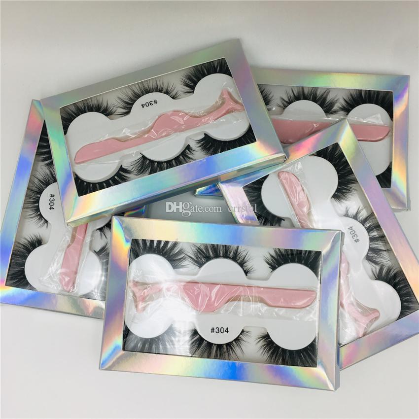3 쌍의 가짜 속눈썹 세트 속눈썹 두꺼운 가짜 3D 실제 밍크 속눈썹 홀로그램 무지개 상자 6 스타일