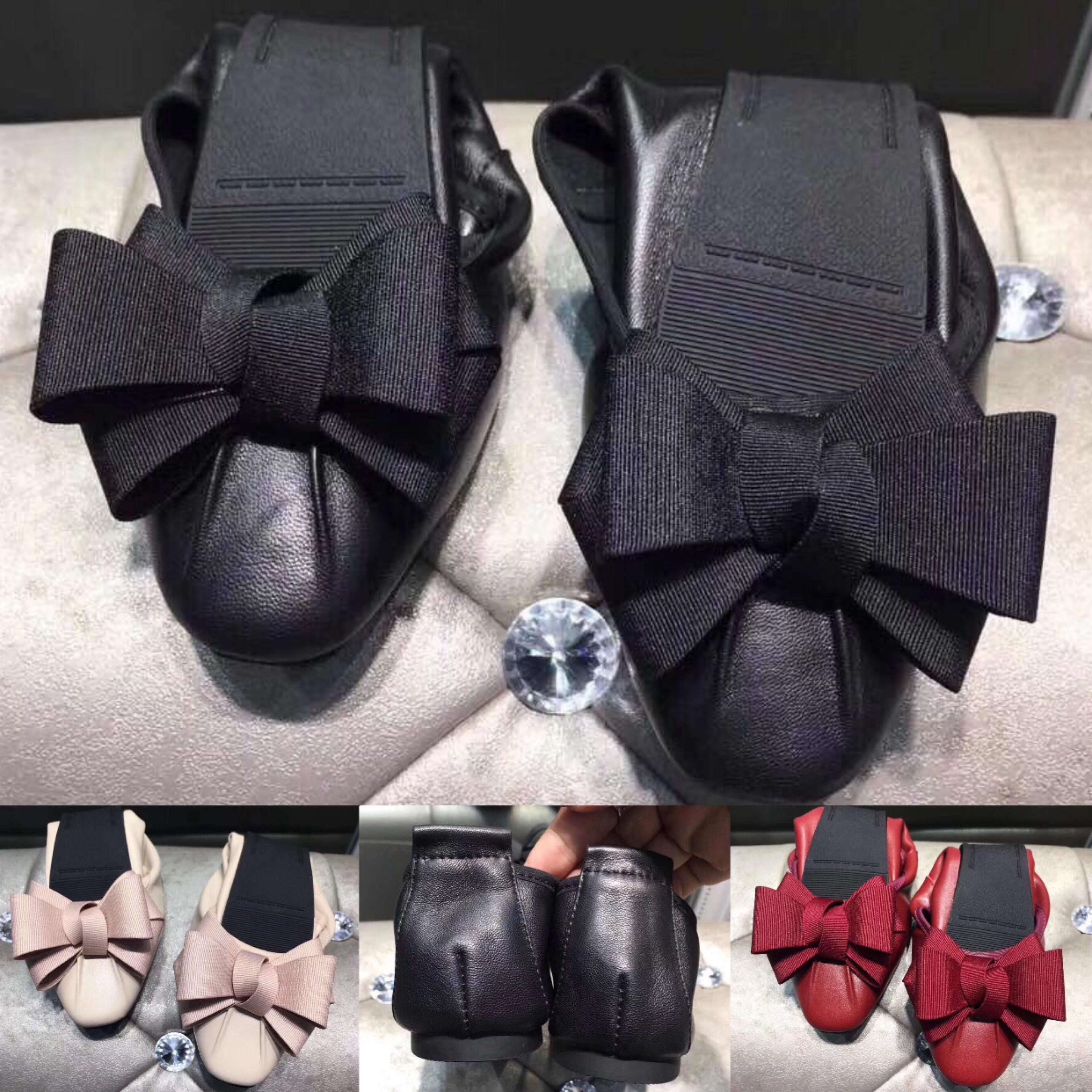 2020 nuevos zapatos de tendencia de la moda planas punta estrecha para mujer del Bowknot de los zapatos del ocio zapatos de ballet de alta calidad de piel de oveja suave plegable