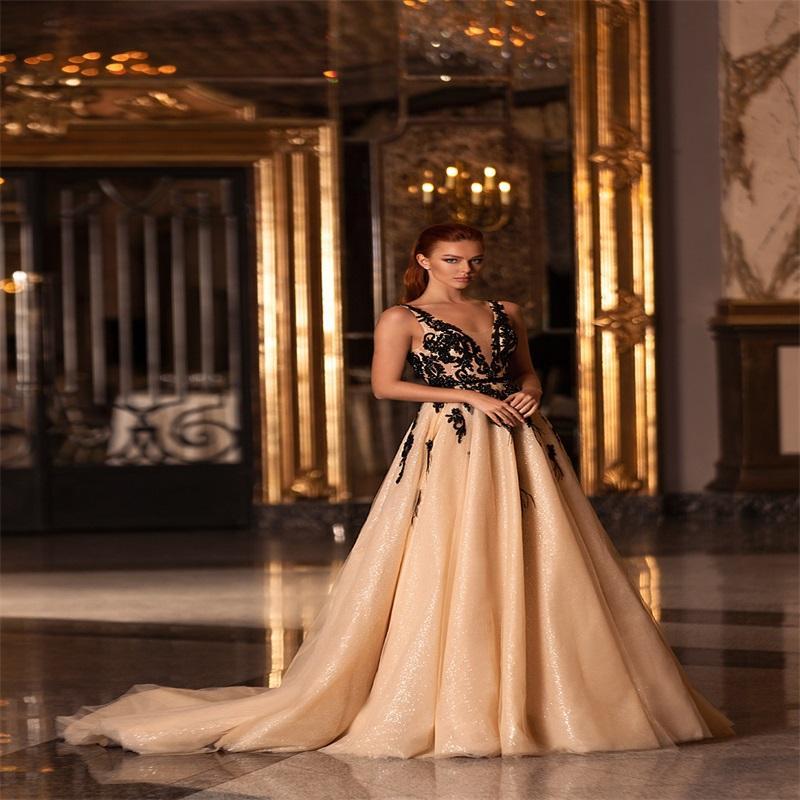Vestido de la alfombra roja del oro de las lentejuelas del brillo vestidos de noche atractivo del V-cuello sin mangas apliques Fiesta formal Vestidos sin espalda por encargo vestido de fiesta
