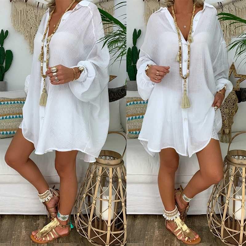 2020 Nueva mujeres flojas cubre sube traje de baño de playa blanca vestido de la playa del algodón kimono encubrimientos para mujeres traje de baño cubren para arriba Mujer