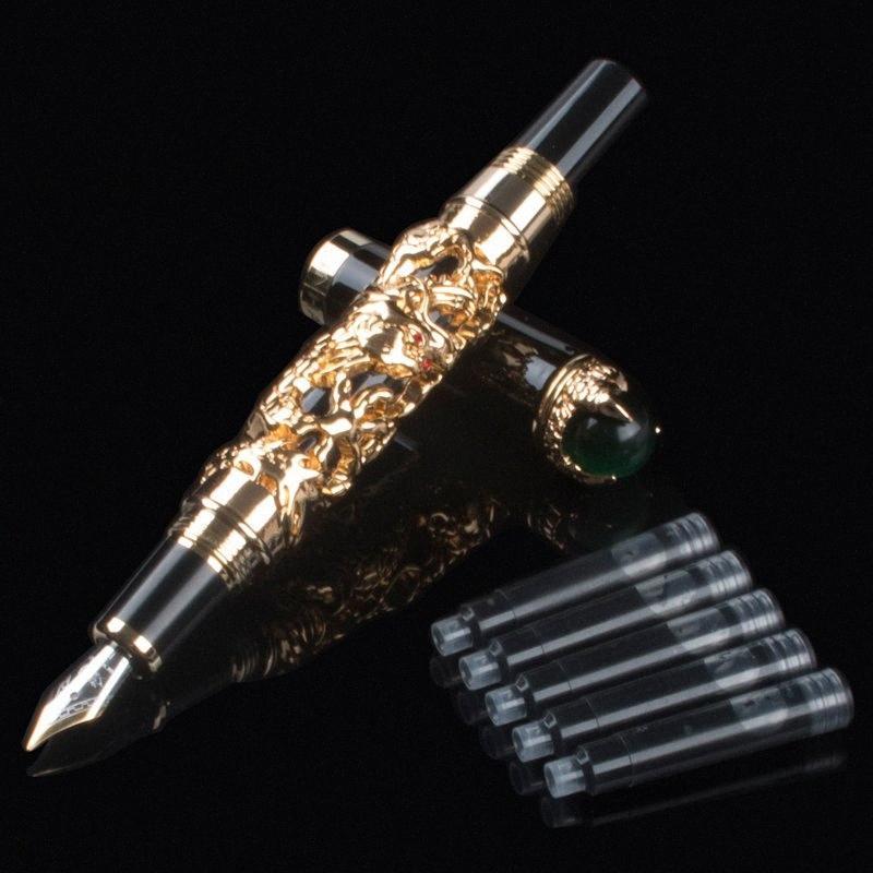 Excelente Clip medio M plumín de oro de la pluma de la tinta del dragón Con regalo de la escuela Oficina Hombres de negocios Sin problemas de escritura JuB6 #