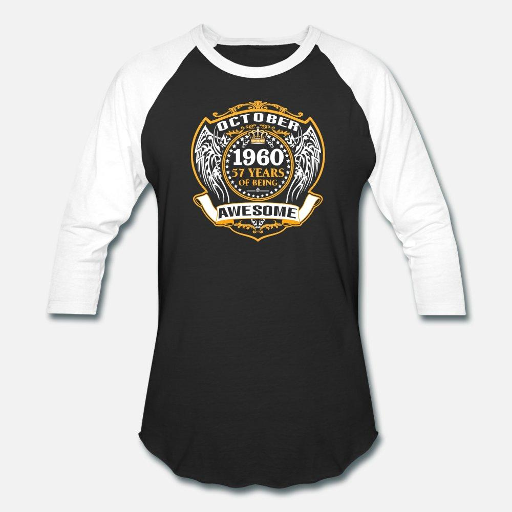 1960 57 años de ser impresionante Octubre hombres de la camiseta 100% algodón Imprimir más el tamaño 3XL flojo de la vendimia auténtica camisa de primavera Único otoño