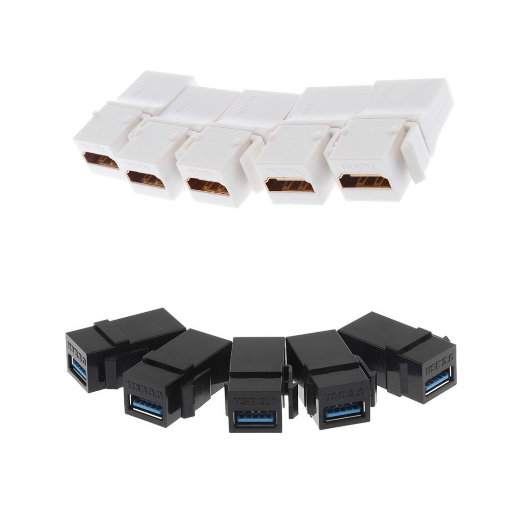5Pieces HDMI Keystone + 5x USB 3.0 Keystone Jack inserciones Conector acoplador