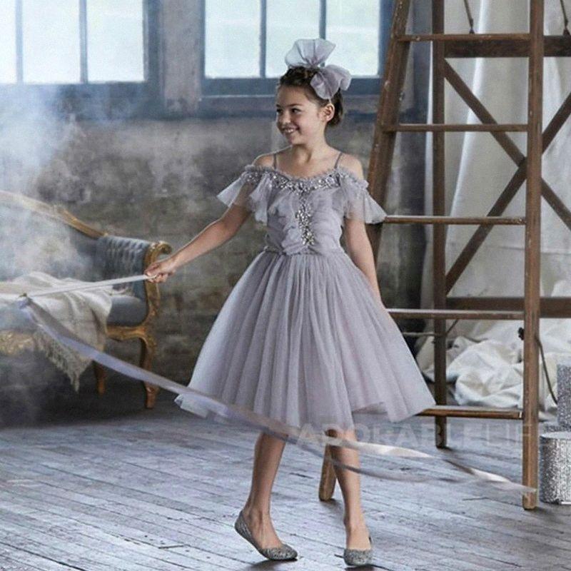 1-13Y Neue Blumenmädchenkleider Strapless knielangen Ballkleid für Geburtstags-Party-Hochzeitskleid des Mädchens mit Pailletten-Kleid CL190 3ph0 #