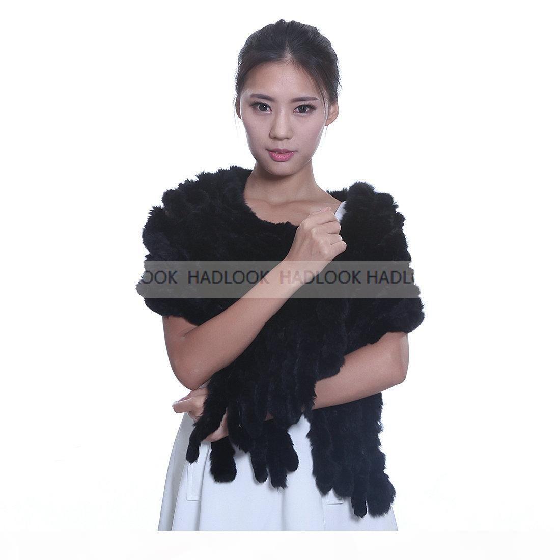 Женщины Real Knit шерсть кролик Rex шаль шарф шерсть оптом кисточки Прекрасного шарфа Весна WinterWarm Натуральная чистый мех шаль ColorfuFree доставка
