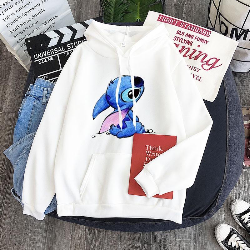 YZZiw 새로운 최고 캔디 컬러 셔츠 커플 셔츠 모든 경기 개인 생각 스티치 패턴 까마귀 위로 땀