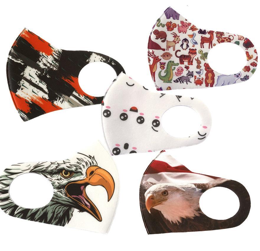 Máscaras Moda cara de dibujos animados de animales Máscara facial Anti polución Imprimir Máscaras reutilizable lavable y transpirable Cara Tipo de gancho para la oreja