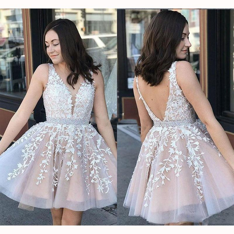 New Arrivals Sexy V-Neck Homecoming Graduation Dresses Appliques A-line Cocktail Dress Beaded Sash Prom Party Gowns Plus Size