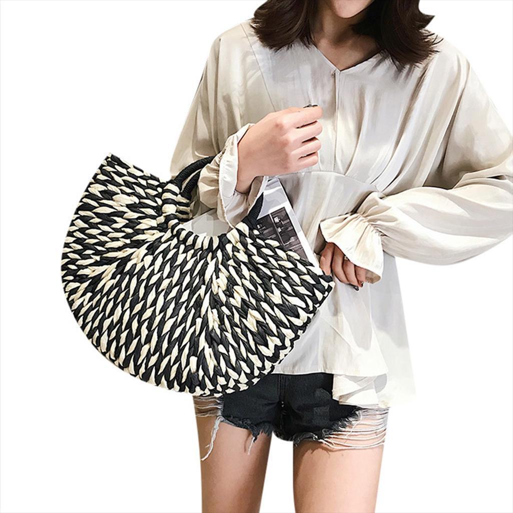 El nuevo bolso de moda de verano 2019 de las mujeres del bolso de paja Bolso de las señoras ocasionales de la playa entretejidas Mujer May9