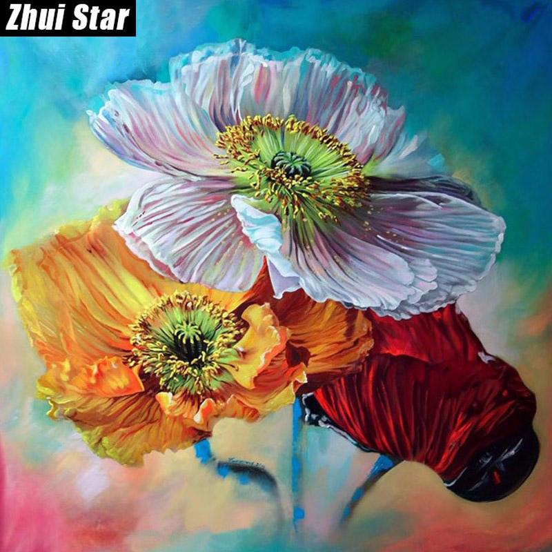 "Zhui Star Full Square Drill 5D DIY Diamond Painting ""Flower"" handmade 3D Embroidery arts Cross Stitch Mosaic Decor gift VIP"