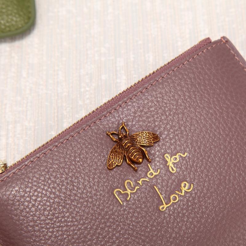 fu80e sac de portefeuille multi-femmes est authentique en cuir simple carte de crédit multi-fonctionnel porte-carte ultra-mince sac grande capacité à court porte-monnaie