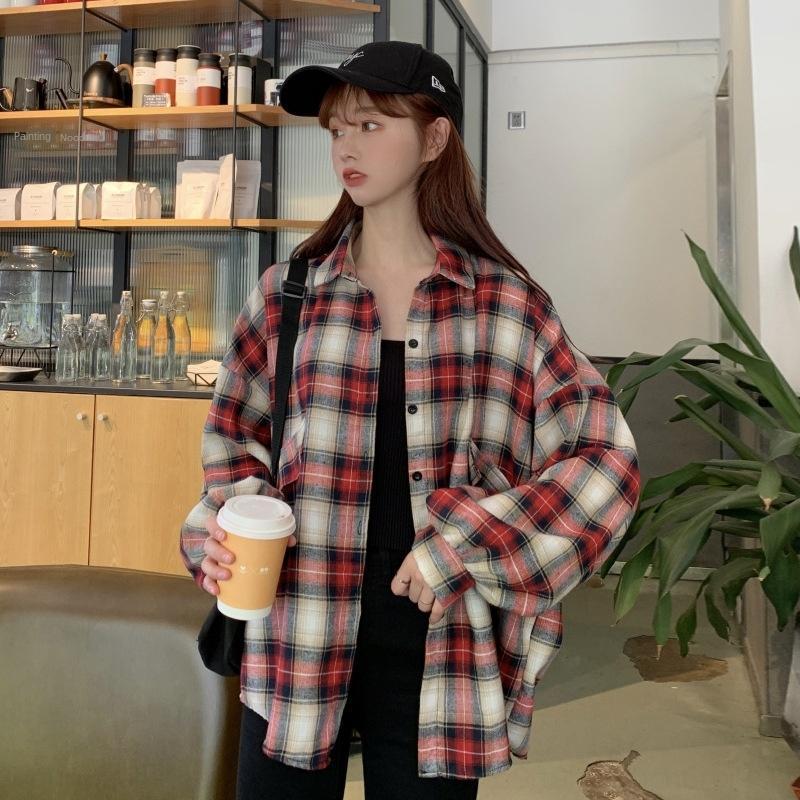 CL2XA 2020 novo aluno fina camada perder todo-match anti-desgaste para Brasão ar-condicionado Ar condicionado camisa camisa xadrez mulheres estrangeiras