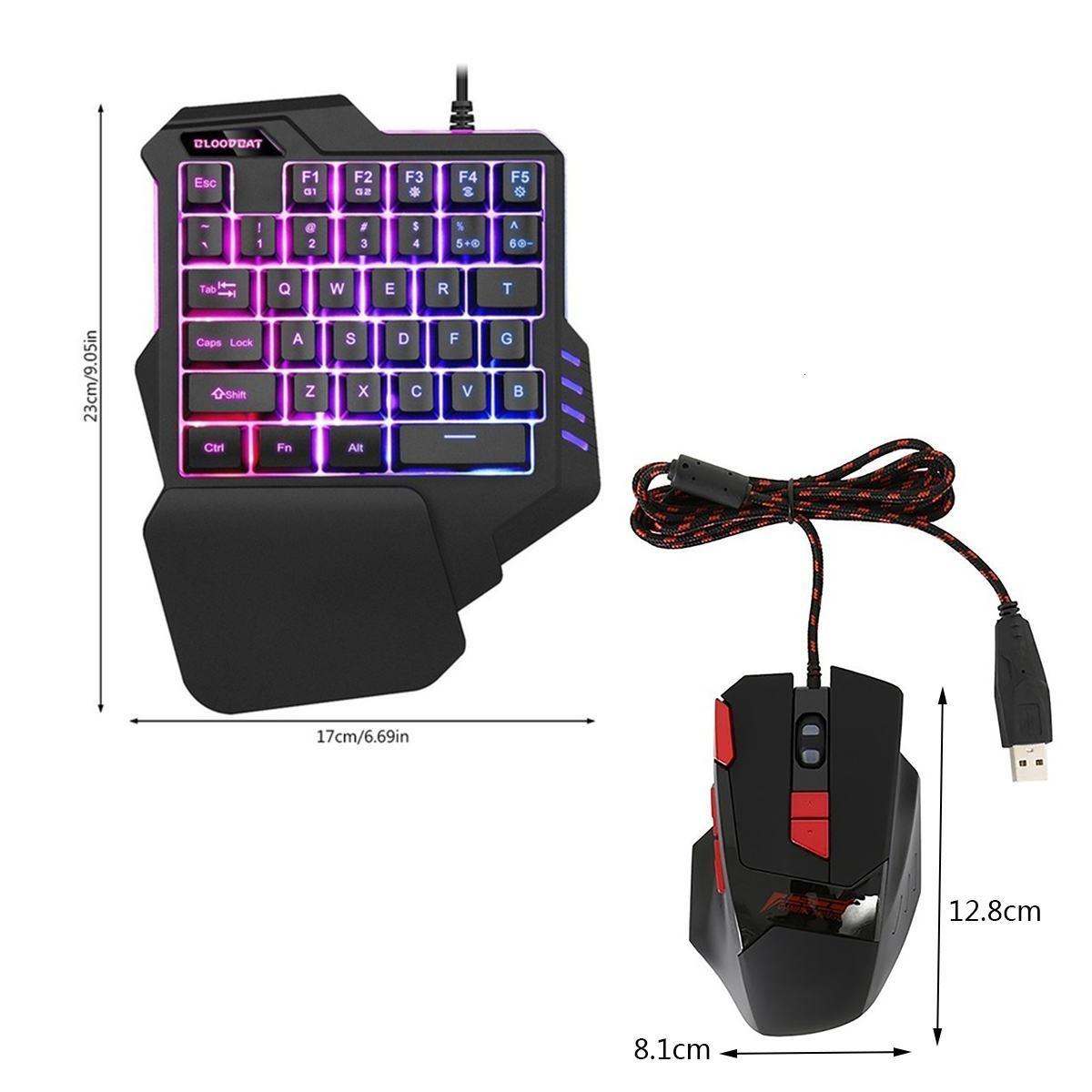 Мини-клавиатура / мышь Проводная Gaming Механическая клавиатура с одной рукой клавиатуры светодиодной подсветкой для игры Fortnited PC Колпачки мышей