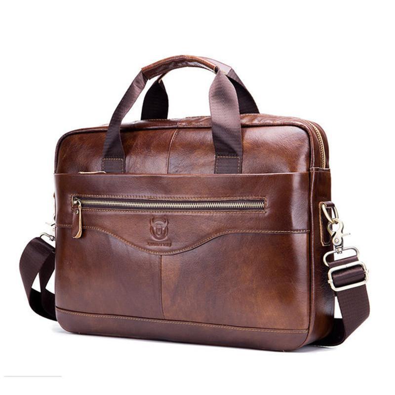 Tasche Rindsleder Leder Herren Crossbody Aktentasche Business Laptop Für Business MEN Echte Tasche Casual Retro Messenger Handtasche PBHHH